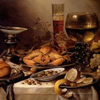 Banquet-Still-Life-With-A-Crab-On-A-Silver-Platter-A-Bunch-Of-Grapes-A-Bowl-Of-Olives-And-A-Peeled-Lemon-All-Resting-On-A-Draped-Table